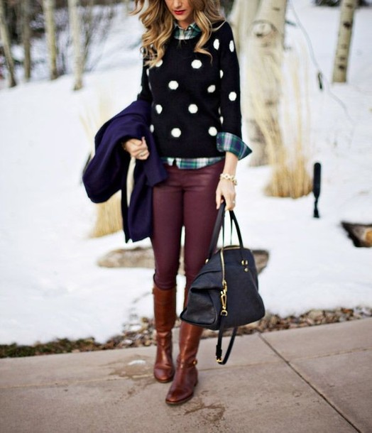 kqjtg0-l-610x610-pants-preppy-polka-dot-sweater-plaid-leather-pants-winter-riding-boots-shoes-shirt-jacket-bag.jpg