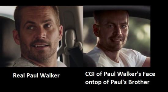 ▲왼쪽 - 실제 폴 워커, 오른쪽 - CG와 형제들에 의해 표현된 장면 (출처:screencrush)