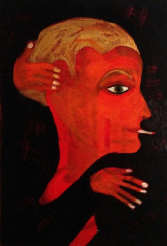 """▲ 장 샤를 드 까스텔바쟉 """"Night Train Encounter""""  Acrylic on Canvas."""