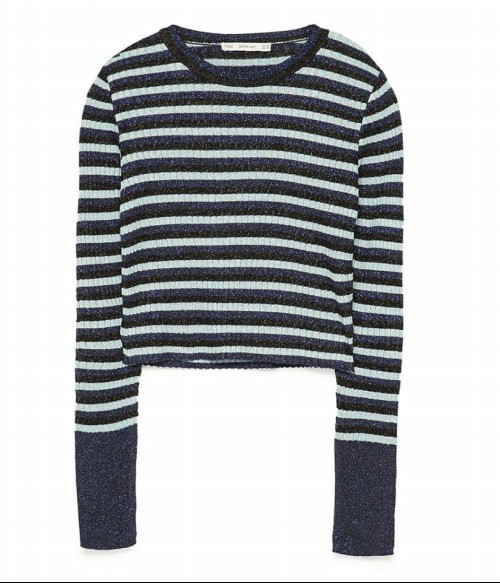 ▲자라(ZARA) 크롭 스트라이프 스웨터
