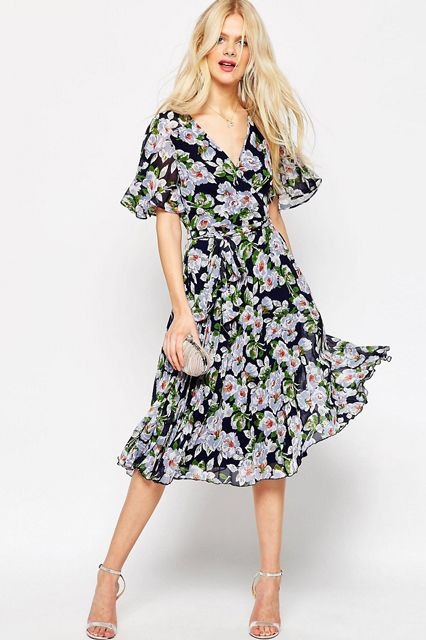 ▲ASOS (Pleated Wrap Midi Dress In Floral Print)